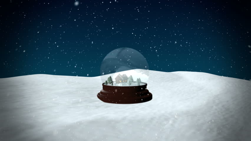 Christmas Snow globe Snowflake with Snowfall on Blue Background - HD stock footage clip