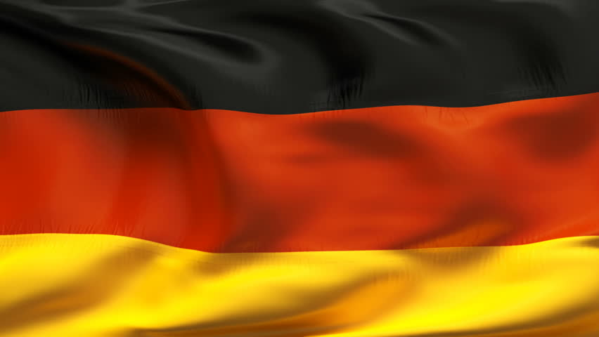 Textured GERMAN satin cotton flag with wrinkles and seams - HD stock footage clip