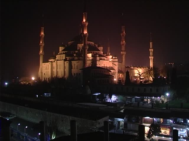 Blue mosque at night in Istanbul, Turkey - SD stock footage clip
