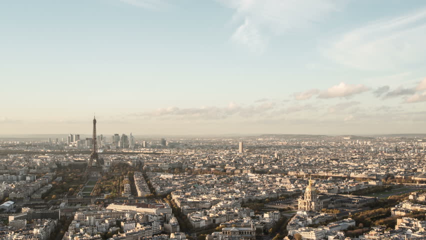PARIS - NOVEMBER 20: Day-to-night timelapse overview of Paris city seen from above aerial point of view. day-time to night-time. 20 November 2014, Paris, France  | Shutterstock HD Video #8025457