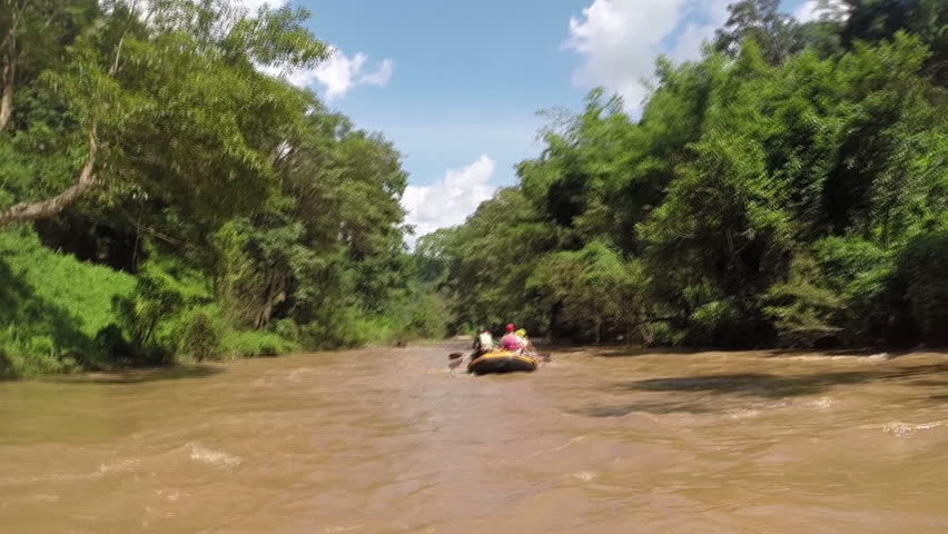 Rafting boat on calm river.Beautiful landscape.