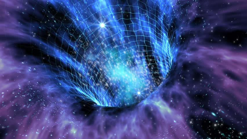 Loop animation with wormhole interstellar travel through a blue force field on a grid with galaxies and stars, for space-time continuum backgrounds - HD stock footage clip