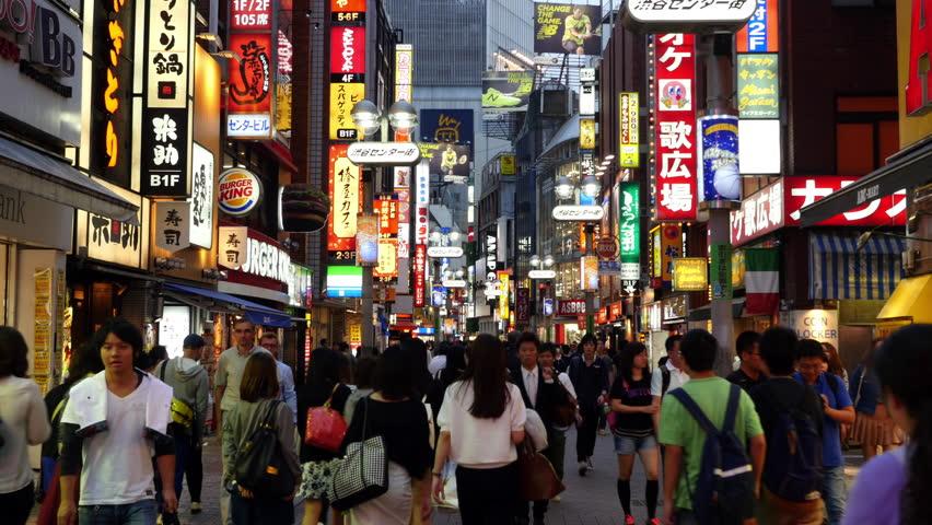 Tokyo Japan - Circa September 2014 Time Lapse of Busy Shibuya Shopping District Evening   - Shibuya, Tokyo Japan - Circa September 2014 - 4K stock footage clip