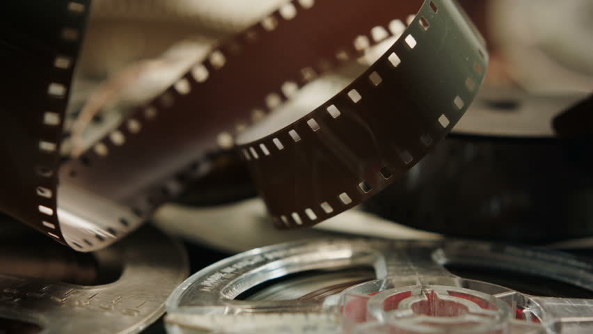 Vintage film stock and audio reels HD stock footage. A superb collage of vintage Movie making materials ideal for a Film or Movie related presentation.