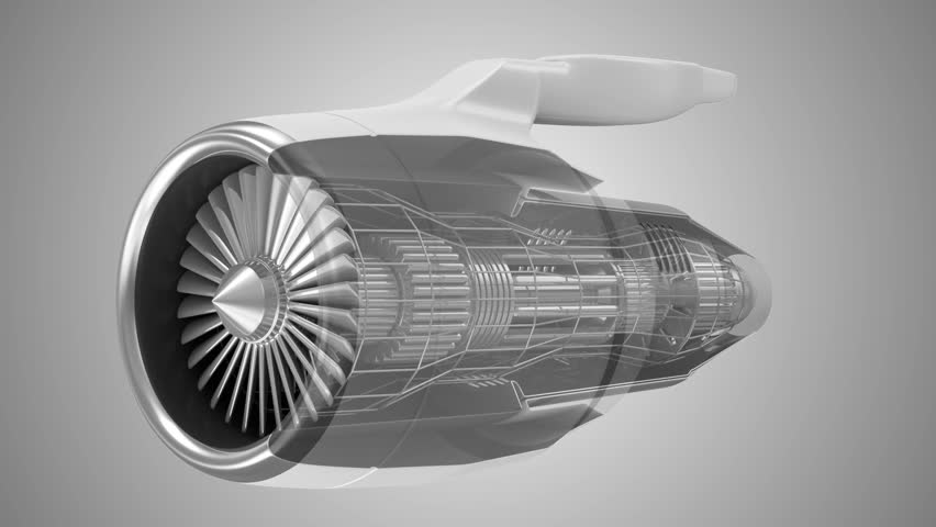 Animation of Modern Airplane Jet Engine Turbine with Transparent Effect. HQ Video Clip with Green Screen