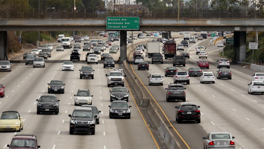 Los Angeles California - Circa November 2014. Overhead Time Lapse View of Traffic on Busy Freeway in Downtown Los Angeles California - Circa November 2014 - HD stock video clip