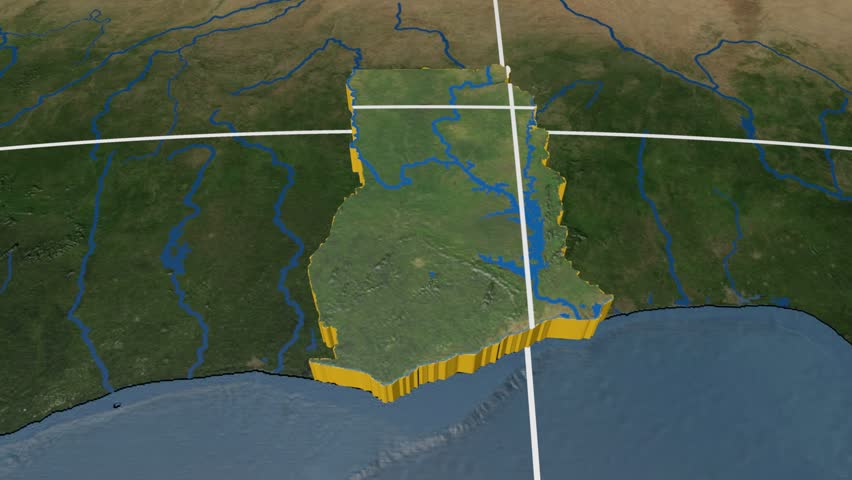 Ghana extruded on the world map with graticule. Rivers and lakes shapes added. High resolution Blue Marble raster used. Elements of this image furnished by NASA.
