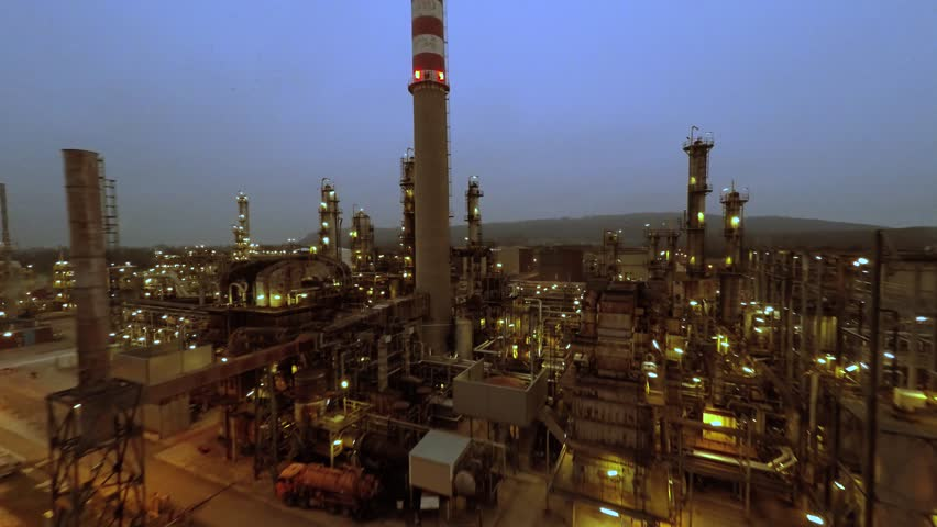 aerial view of industrial oil refinery plant station. gas industry background - 4K stock footage clip