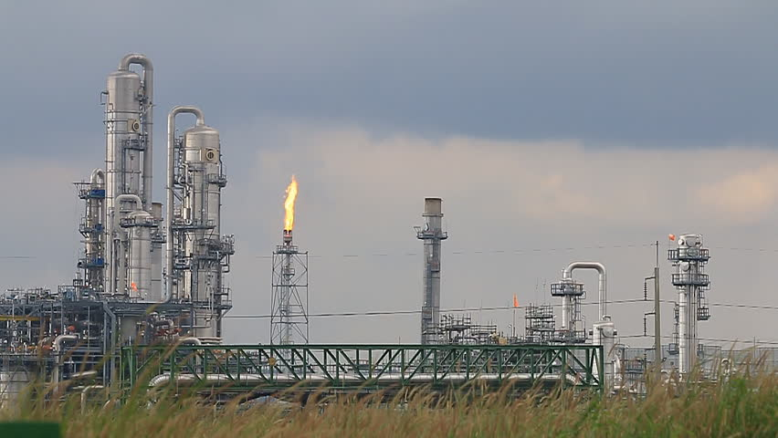 Oil Refinery Petrochemical factory in Early Morning in East