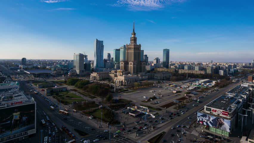 WARSAW - 27 OCT: Timelapse view over Warsaw showing the Palace of Culture and Science Building, a major landmark in the city on 27 October 2014 in Warsaw, Poland