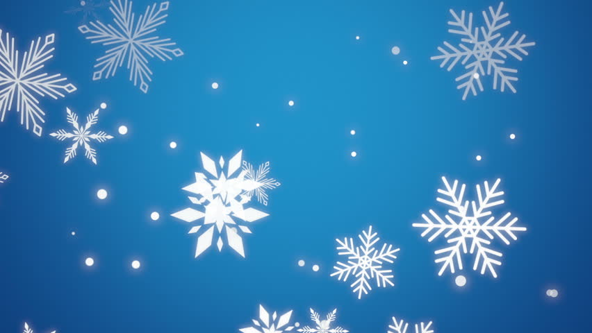 Classic Christmas Motion Background Animation Perfecty: Perfectly Seamless Loop With Large Decorative Snowflakes