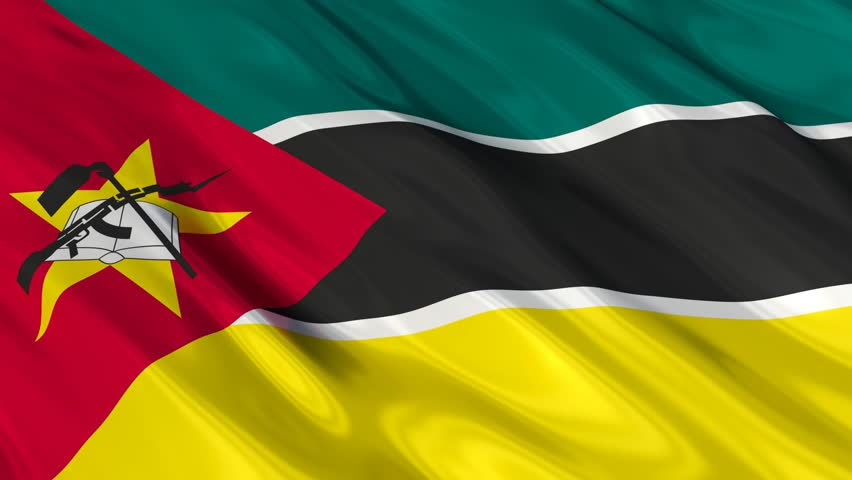 Mozambique Flag Slider Style Waving In The Wind With