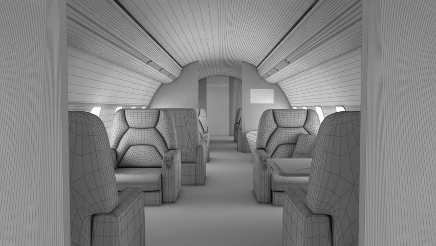 Smooth walk through white private business plane interior - HD stock video clip
