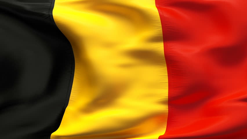 Creased textured BELGIUM   flag in slow motion with visible wrinkles and seams - HD stock video clip