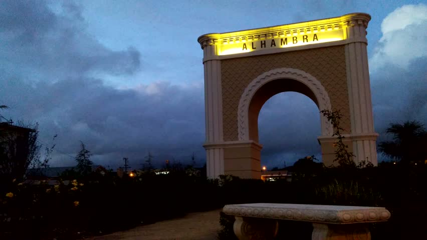 Alhambra, California - December, 2014 - Medium shot of the Alhambra Gateway arch in the evening.