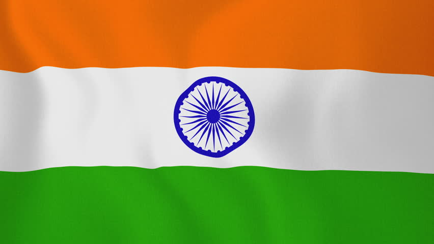 Indian Animated Flag Waving: India Flag Waving Against Time-lapse Clouds Background