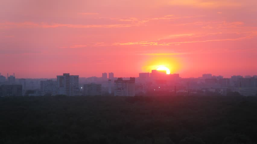 Sun are moving over the district of Moscow during sunset. Time lapse.   Shutterstock HD Video #8315392