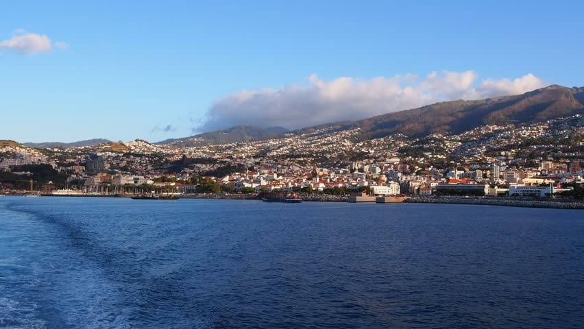 Cityscape of Funchal  capital city of Madeira Island, Portugal - HD stock footage clip