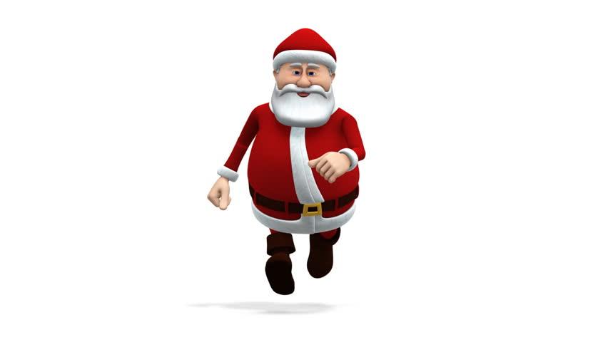 Cartoon santa claus walking loopable d animation