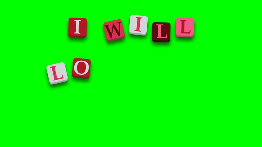 Valentine's Day greeting card phrase, saying I will love you forever with colorful blocks on green screen - 4K stock video clip