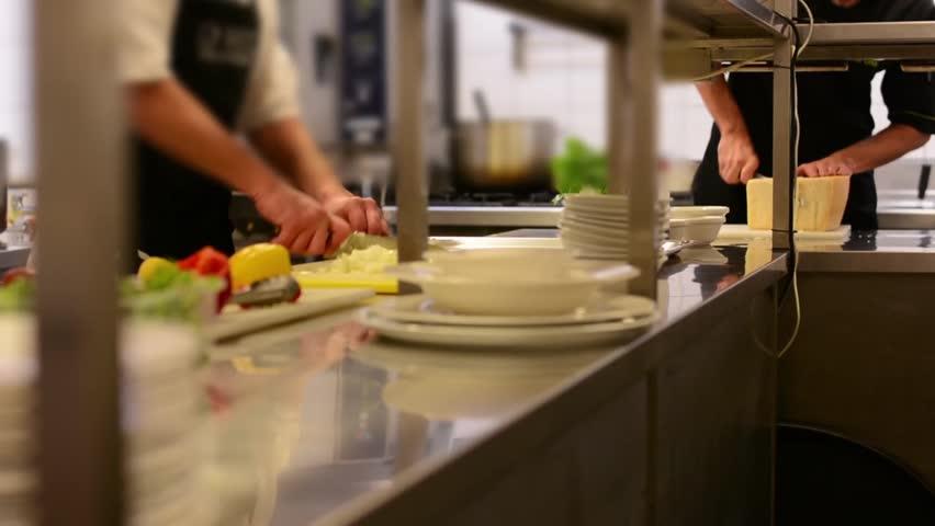 chefs cook in the kitchen - restaurant #8340259
