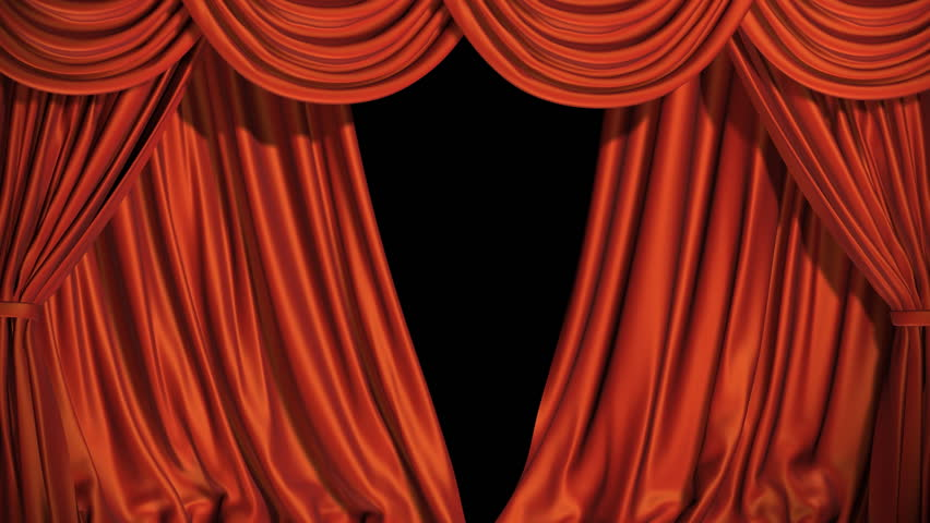 High Definition Clip Of An Opening Red Stage Curtain ...