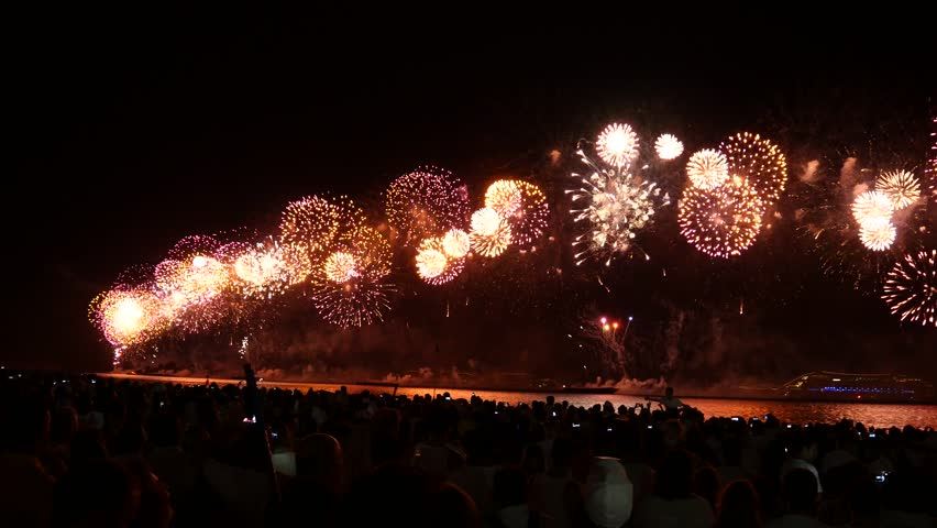 RIO DE JANEIRO - DECEMBER 31, 2014 : Spectacular fireworks display at Copacabana beach new years eve december 31, 2014