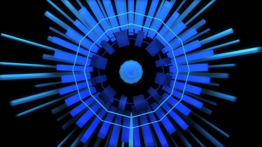 Abstract audio visualizer meter of cube rings. High definition motion background for music videos, broadcast, television, film, editing, live visuals, VJ loops, youtube shows, or art installations.