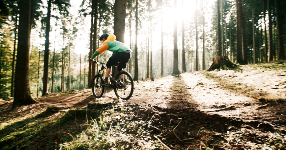 Mountain Biker Riding in 4k slow motion On Forest Track