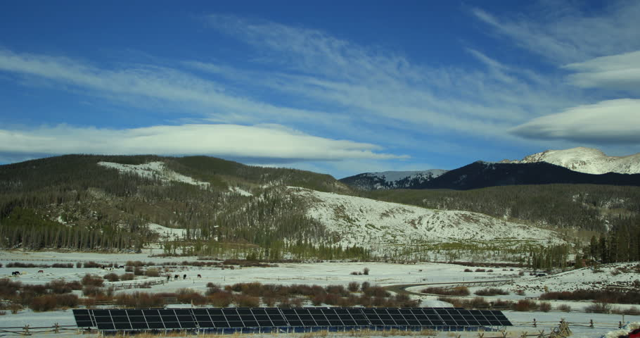 4k Timelapse clip of horse ranch and solar panels in the winter landscape | Shutterstock HD Video #8395807