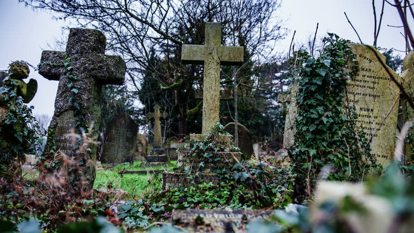 Cemetery graveyard scene intro panning timelapse | Shutterstock HD Video #8406418