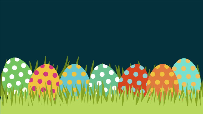 Happy Easter Animation On A Yellow Background Stock