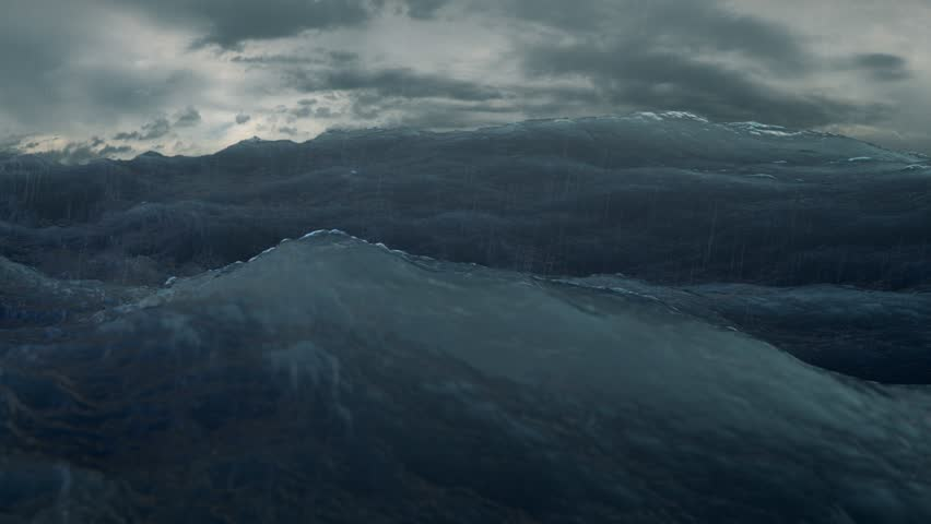 rough sea rain loop of big waves in an agitated ocean. Camera goes underwater several times, 4k Great background for movie credits or intro. (seamless loop, 4k,ultra high definition, 3840 X 2160)