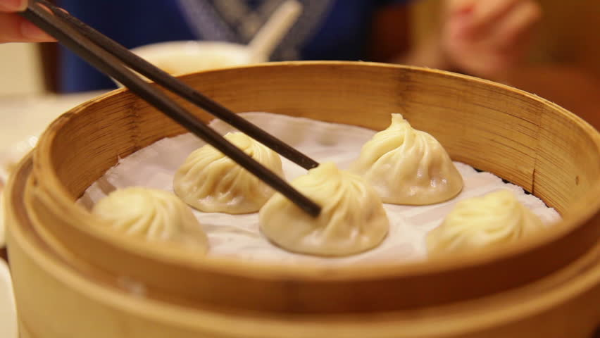 Steam From Soup ~ Hot xiaolongbao soup dumplings with steam traditional