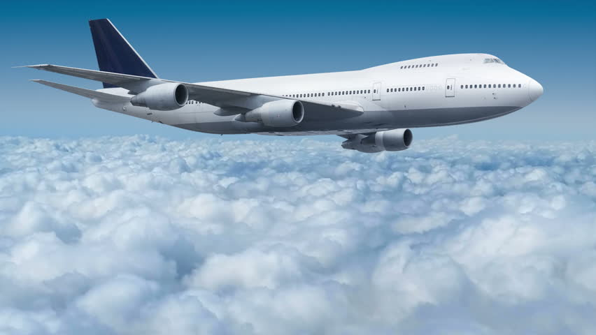 Aircraft Boeing 747 flying over the clouds cinema graph #8451238