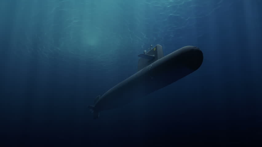 Submarine patrolling just below the water's surface - HD stock video clip