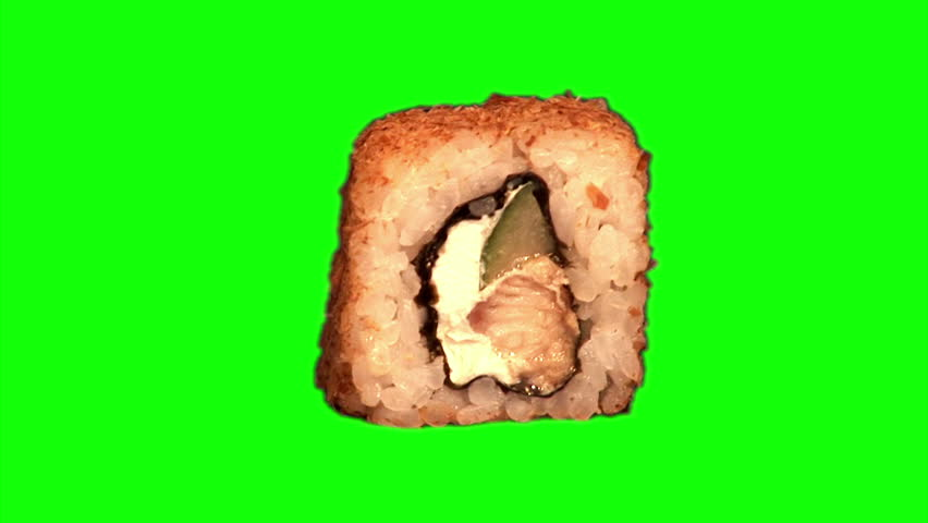 "One sushi (roll with rice, smoked sea eel, cucumber, cheese ""Philadelphia"", shaving tuna) rotating on green screen, loop - HD stock video clip"