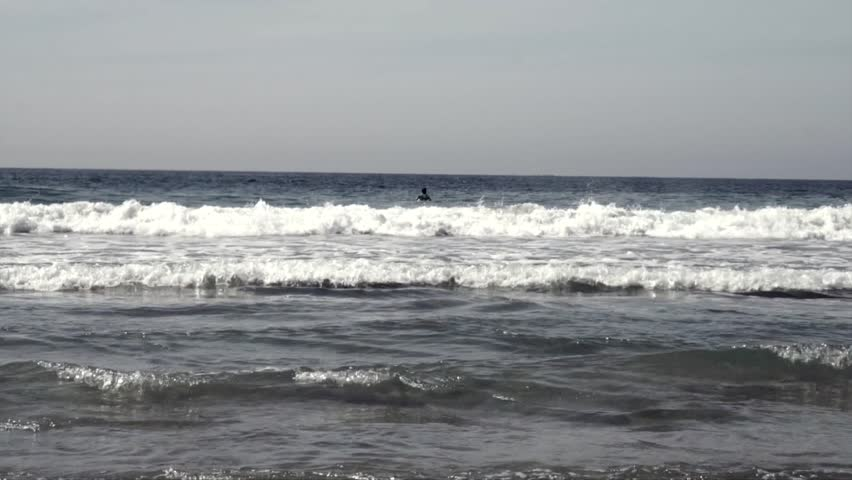surfer waiting the right wave - HD stock video clip