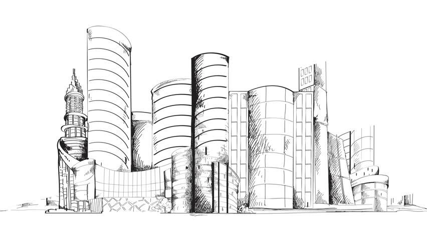 City Building Sketch Modern Urban Sketch City Center With Skyscraper