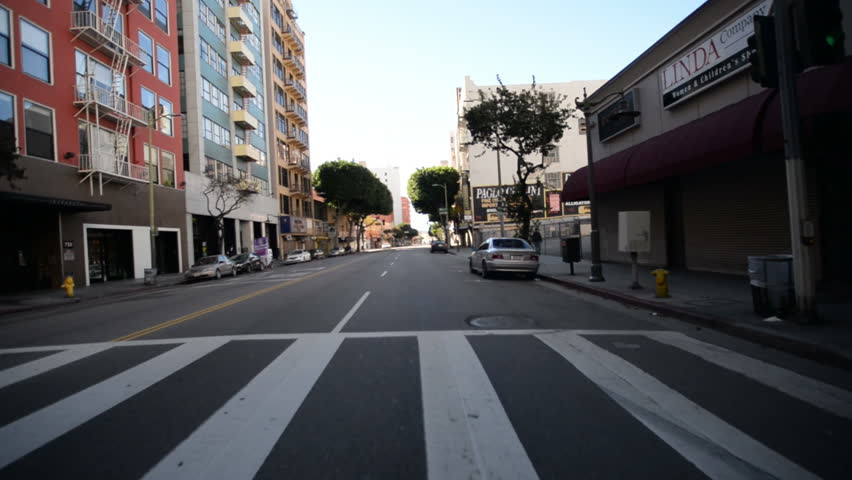 Driving Plates Los Angeles Downtown Morning CAM1 Front 21 7th St East to Los Angeles St South California USA | Shutterstock HD Video #8496265