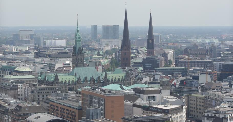 Hamburg Skyline Establishing Shot Aerial View Town Hall Buildings Roof Old House ( Ultra High Definition, UltraHD, Ultra HD, UHD, 4K, 2160P, 4096x2160 )