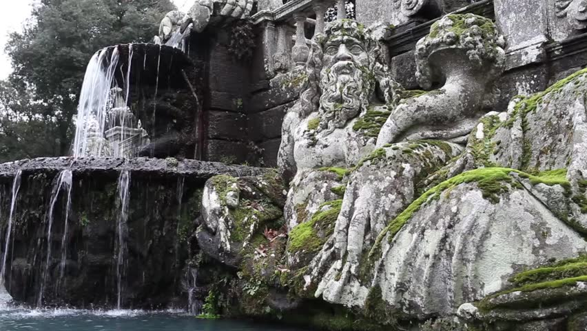 Video clip showing detail of the Giants Fountain with statue representing the personification of Tiber river. Villa Lante, Bagnaia, Viterbo province, Italy.