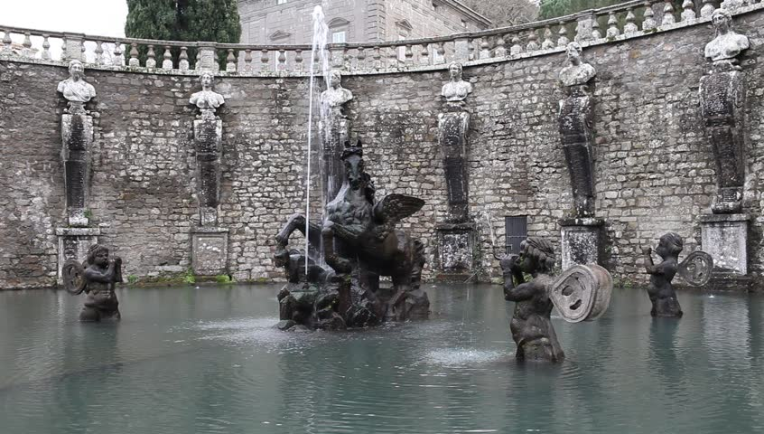 Video clip showing detail of the Pegasus Fountain at the entrance in the gardens of Villa Lante, Bagnaia, Viterbo Province, Italy.