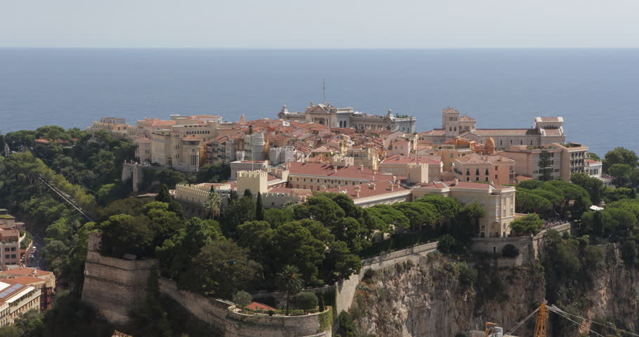 Panoramic Aerial View Monaco Chateau Grimaldi Cathedral Oceanography Museum Day ( Ultra High Definition, UltraHD, Ultra HD, UHD, 4K, 2160P, 4096x2160 ) - 4K stock footage clip
