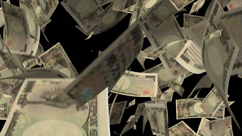 Falling Japan money banknotes Video Effect simulates Falling 10000 Japan money banknotes with alpha channel in 4k resolution