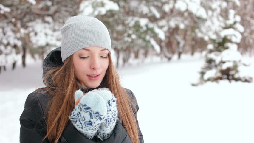 Young woman drink coffee in winter forest - HD stock footage clip