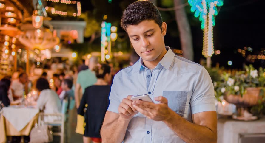 Handsome Young Professional Businessman Tourist Tourism Typing On Smartphone Tablet 3G 4G App Communication Social Network Travel Destination Escape Getaway Technology Tech Savvy Intelligent Confident - 4K stock video clip