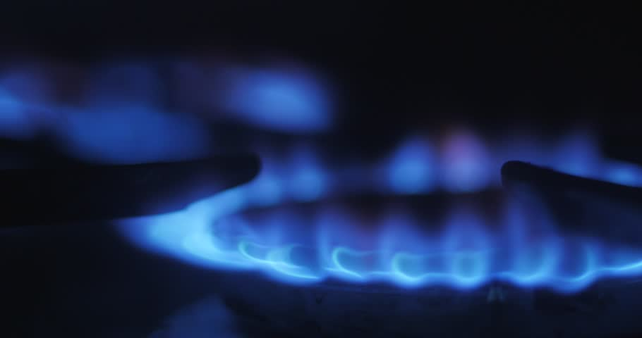 Gas Burner Stove For Cooking Yellow And Blue Flames Burning Gas Paper The Use Of Oxygen Gas