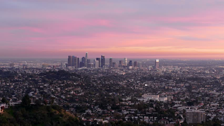 Downtown Los Angeles dusk to night cityscape time lapse view.   Shutterstock HD Video #8606164