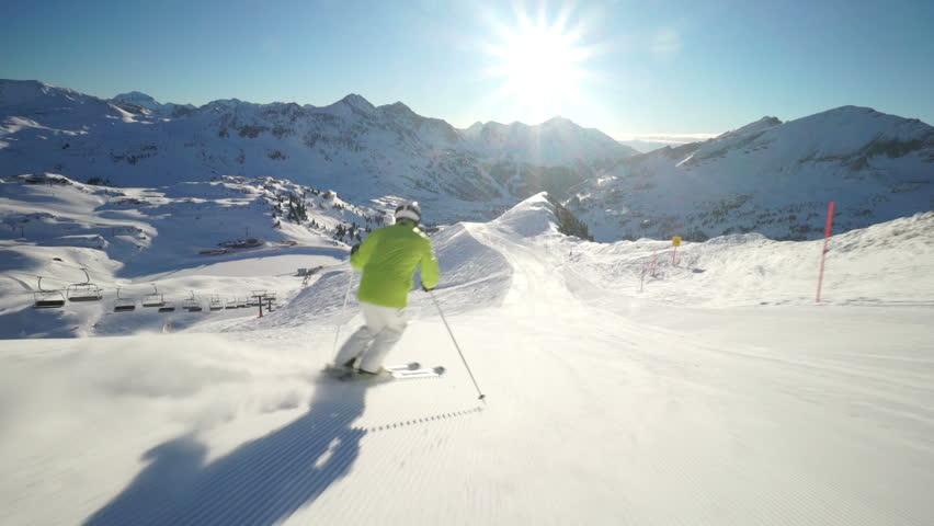 sunshine skiing in austrian ski region slo mo